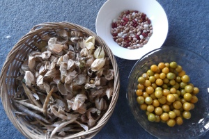 Golden balls of goodness, some beans and some great dry material for the compost heap