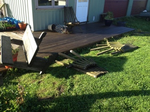 The wind was so strong it tossed our outdoor wooden furniture like it was a toy