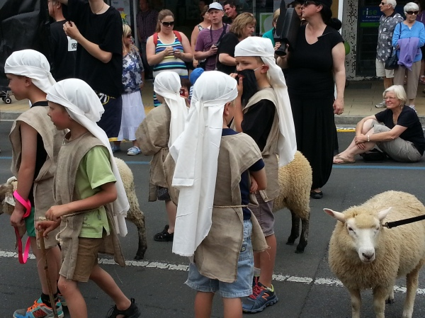 And shepherds with our lambs - our contribution to our church entry. We came 3rd place in our category. The lambs were so well behaved in the parade but are quite tired now and pleased to be back in their paddock.
