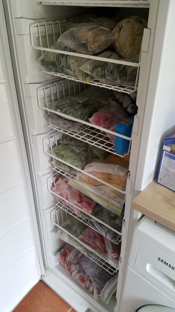 Frozen veggies stacked nicely