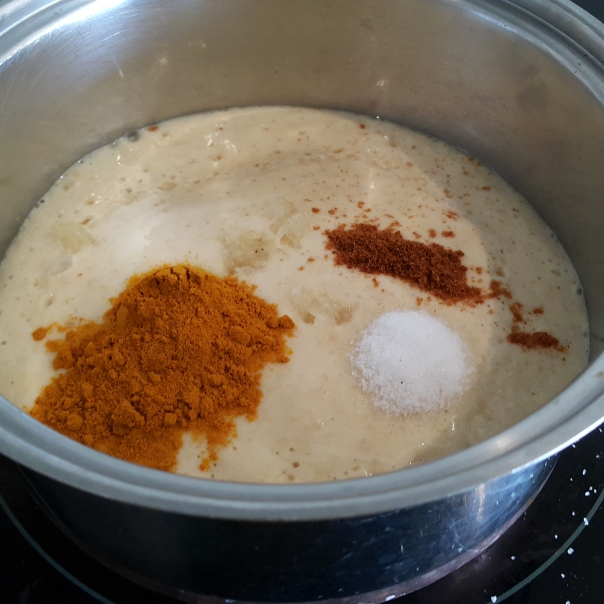 The rest of the ingredients, salt, paprika, tumeric and garlic