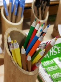 Go Green Expo Coloured pencils from recycled newspaper.