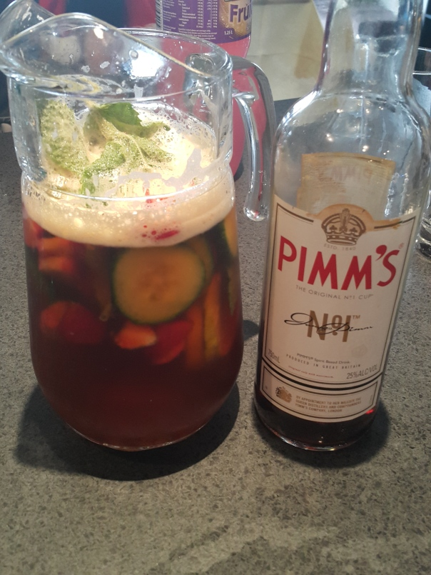 Pimm's with strawberry and cucumber