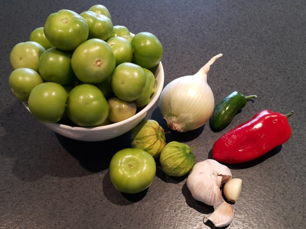 All the fine ingredients for a fine Tomatillo sauce
