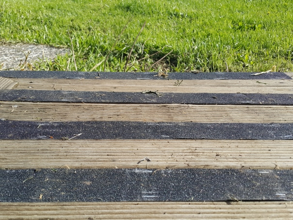 Anti slip treads keep wooden decks from becoming a death trip on damp days