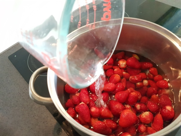 Add water to the berries