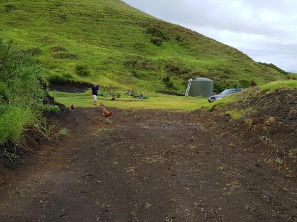 Excavated driveway