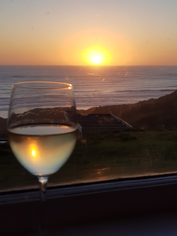 Sunset and a glass of wine