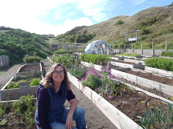 Sarah the Gardener in the garden