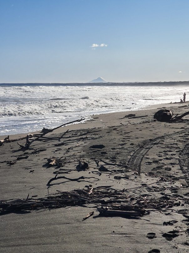 Castlecliff beach with Mt Taranaki in the background
